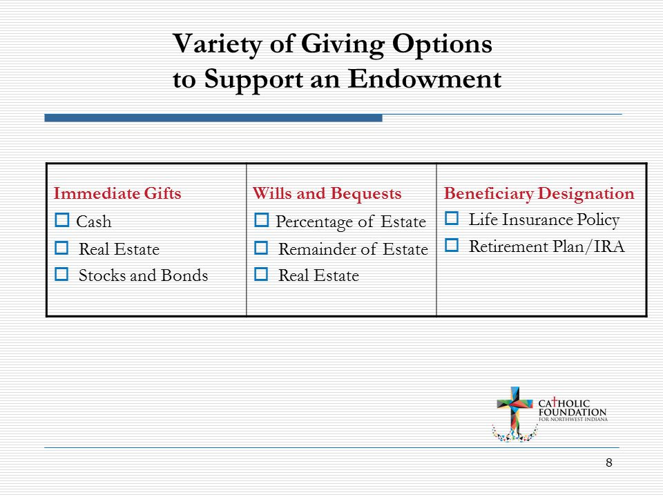 8 Variety of Giving Options to Support an Endowment Immediate Gifts  Cash  Real Estate  Stocks and Bonds Wills and Bequests  Percentage of Estate  Remainder of Estate  Real Estate Beneficiary Designation  Life Insurance Policy  Retirement Plan/IRA
