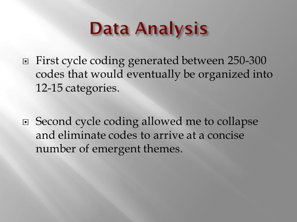 First cycle coding generated between 250-300 codes that would eventually be organized into 12-15 categories.