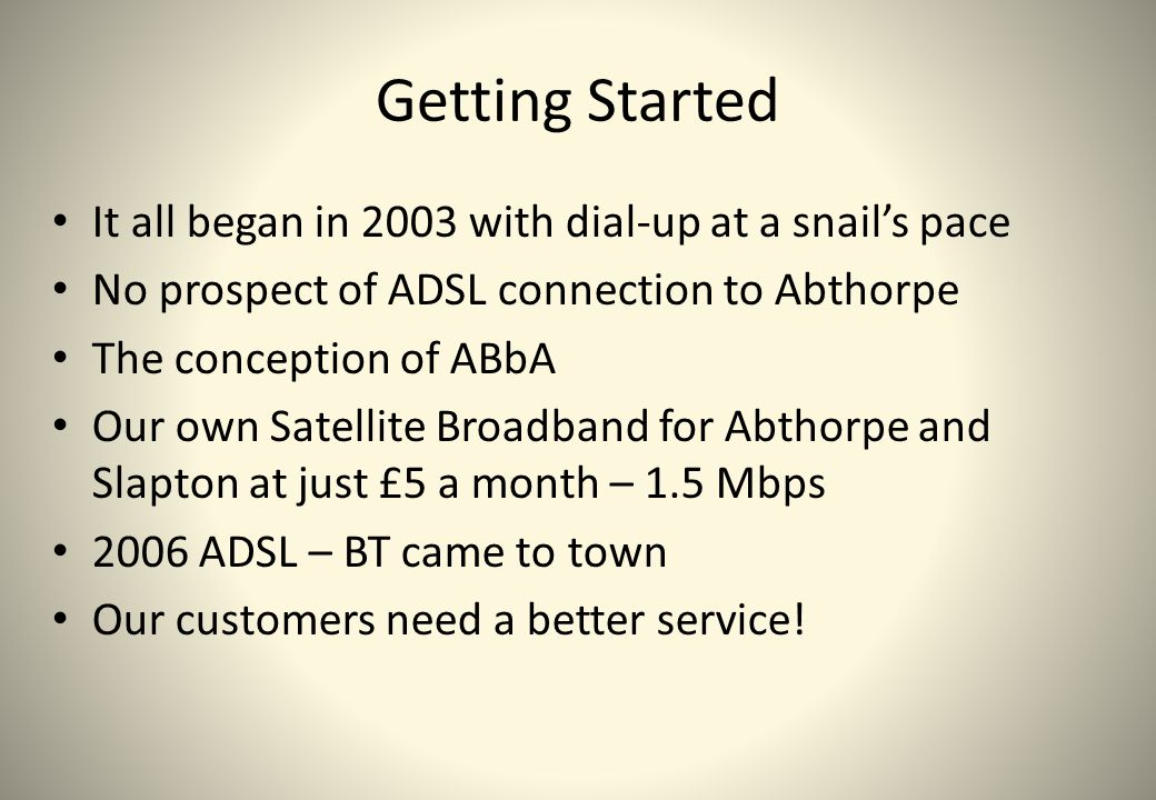 Getting Started It all began in 2003 with dial-up at a snail's pace No prospect of ADSL connection to Abthorpe The conception of ABbA Our own Satellit