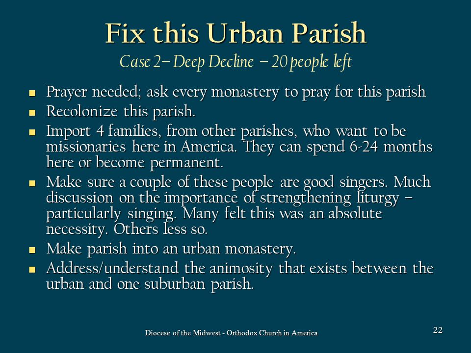 Fix this Urban Parish Fix this Urban Parish Case 2– Deep Decline – 20 people left Prayer needed; ask every monastery to pray for this parish Prayer needed; ask every monastery to pray for this parish Recolonize this parish.