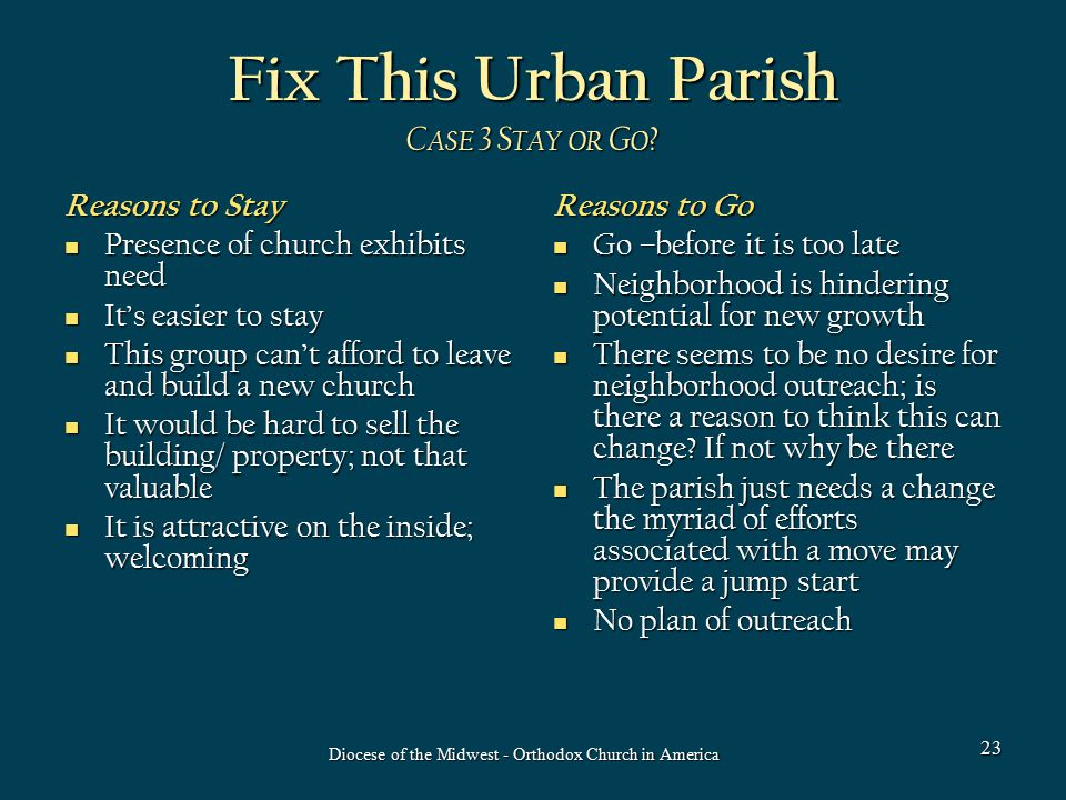 Fix This Urban Parish C ASE 3 S TAY OR G O .