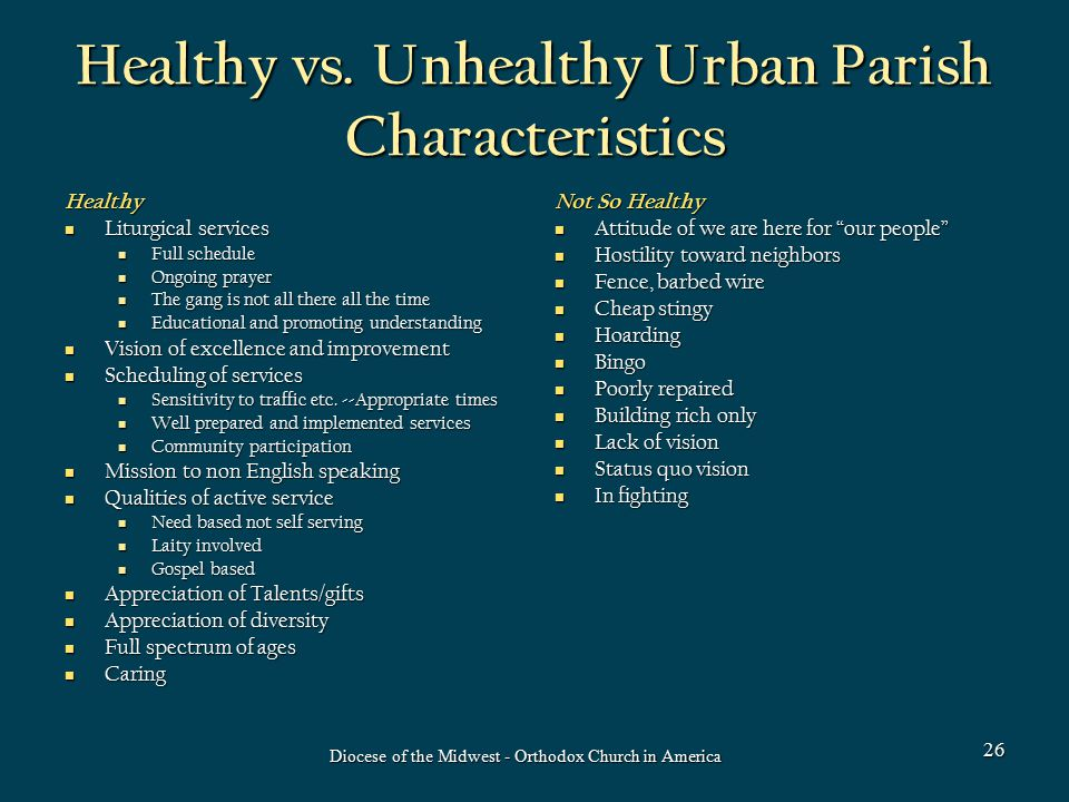 Healthy vs. Unhealthy Urban Parish Characteristics Healthy Liturgical services Liturgical services Full schedule Full schedule Ongoing prayer Ongoing