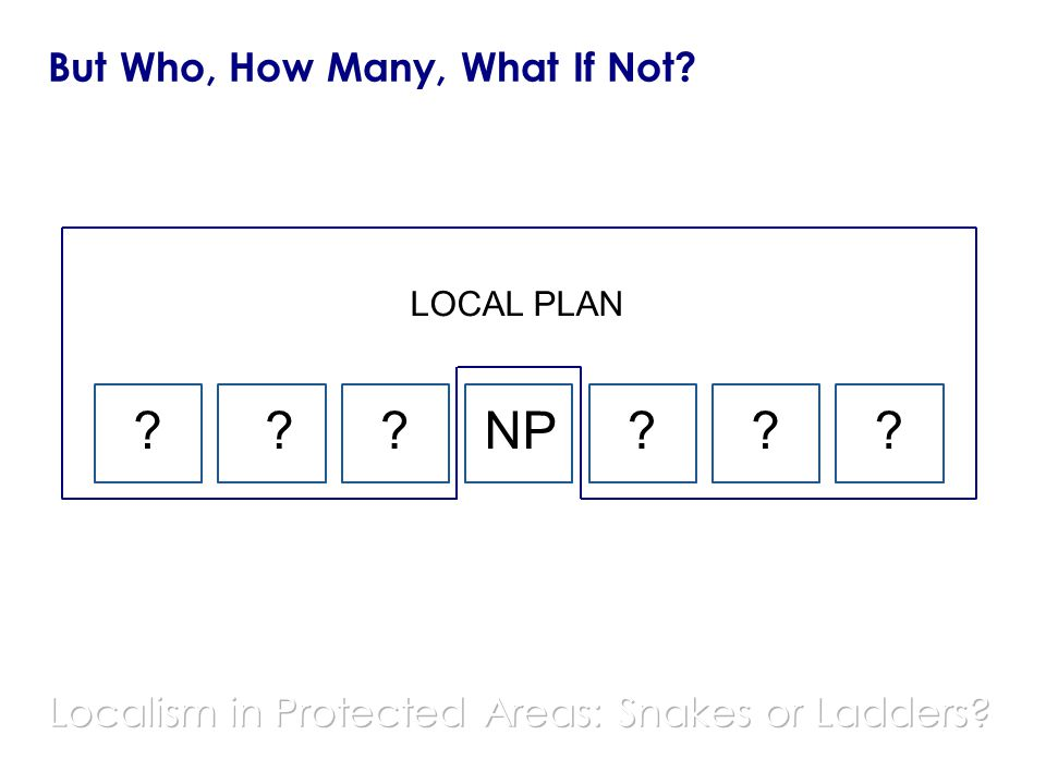 But Who, How Many, What If Not? ??????NP LOCAL PLAN