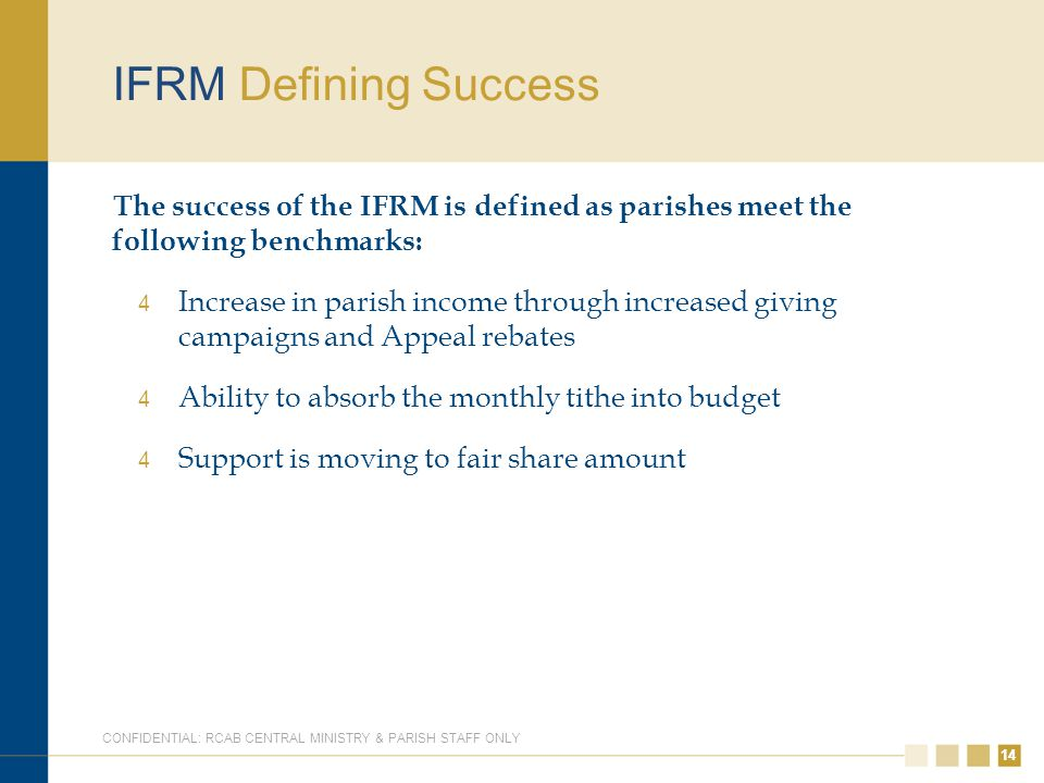 14 IFRM Defining Success The success of the IFRM is defined as parishes meet the following benchmarks: 4 Increase in parish income through increased g