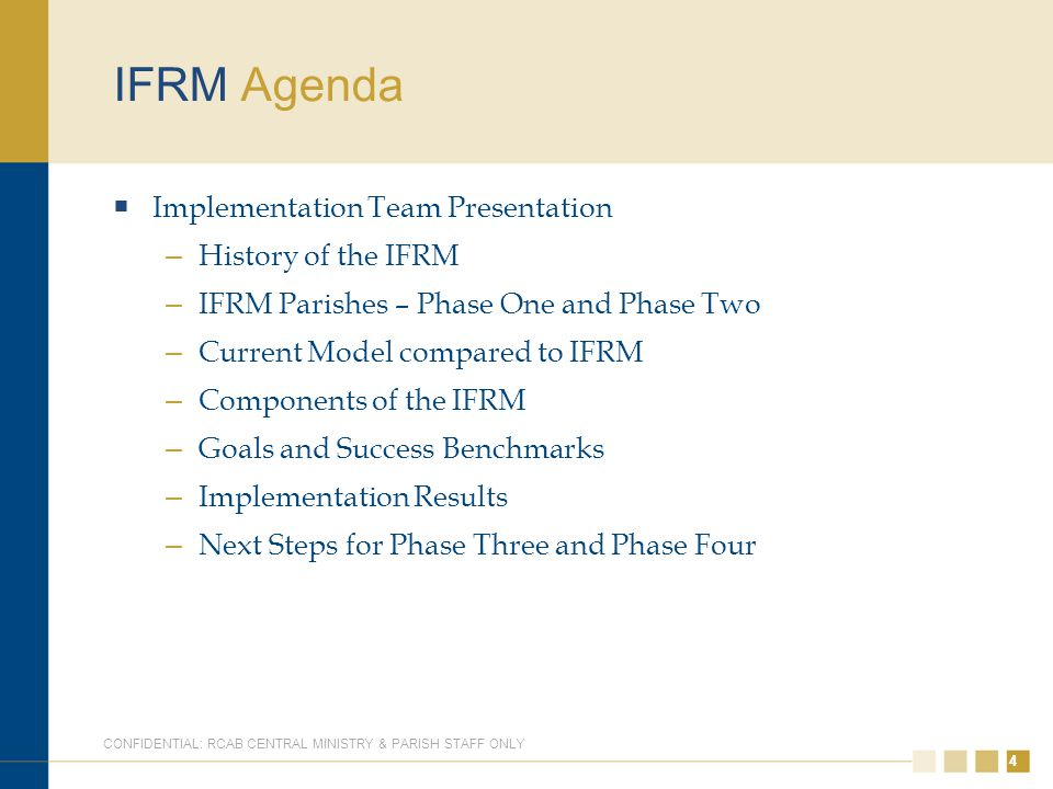 44 IFRM Agenda  Implementation Team Presentation – History of the IFRM – IFRM Parishes – Phase One and Phase Two – Current Model compared to IFRM – C
