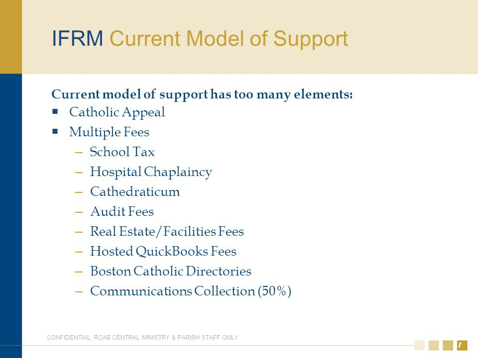77 IFRM Current Model of Support Current model of support has too many elements:  Catholic Appeal  Multiple Fees – School Tax – Hospital Chaplaincy