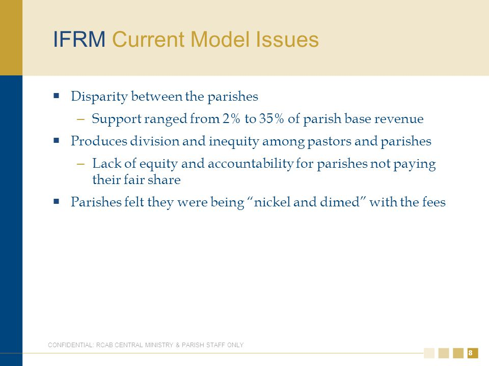 88 IFRM Current Model Issues  Disparity between the parishes – Support ranged from 2% to 35% of parish base revenue  Produces division and inequity