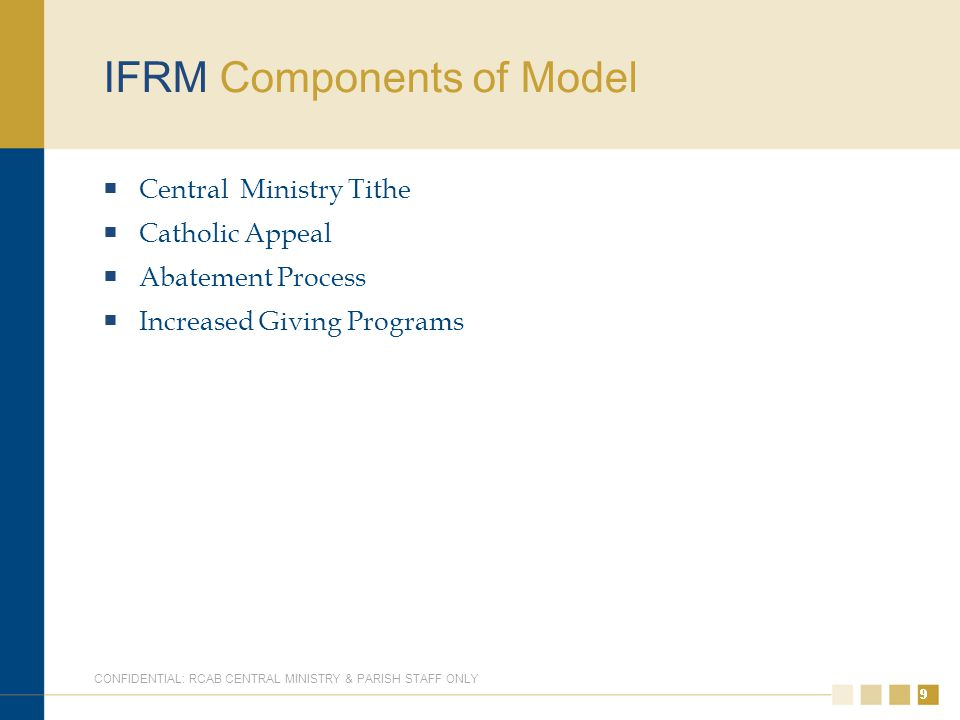 99 IFRM Components of Model  Central Ministry Tithe  Catholic Appeal  Abatement Process  Increased Giving Programs 9 CONFIDENTIAL: RCAB CENTRAL MINISTRY & PARISH STAFF ONLY