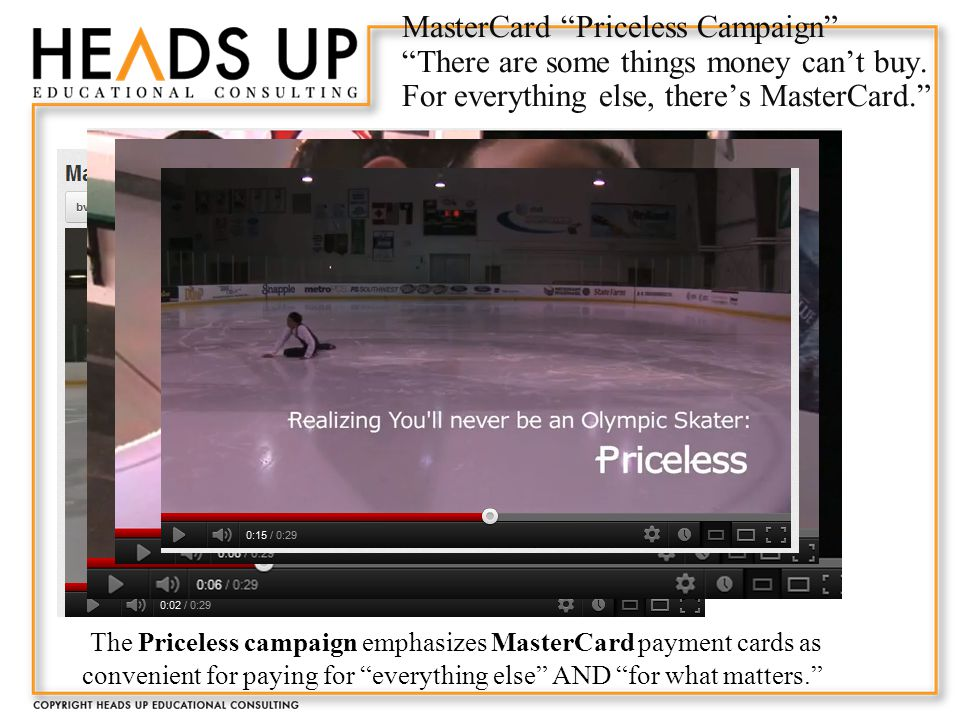MasterCard Priceless Campaign There are some things money can't buy.
