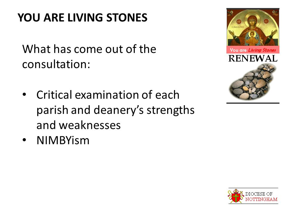 YOU ARE LIVING STONES What has come out of the consultation: Critical examination of each parish and deanery's strengths and weaknesses NIMBYism