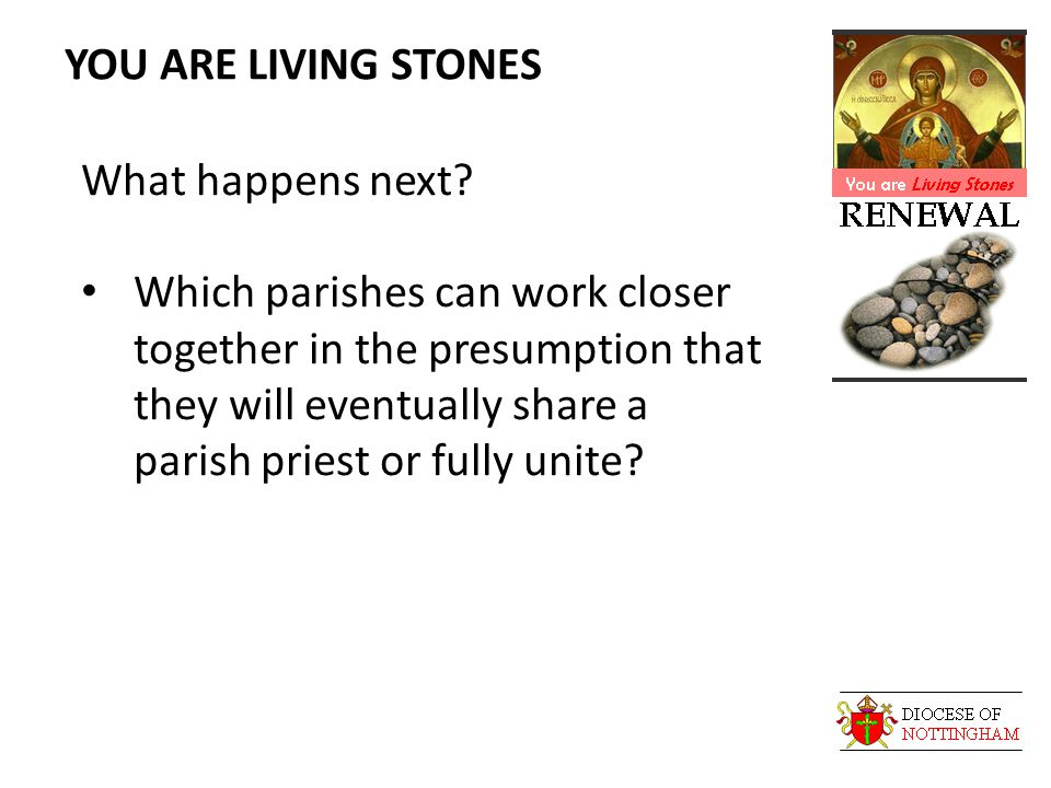YOU ARE LIVING STONES What happens next.