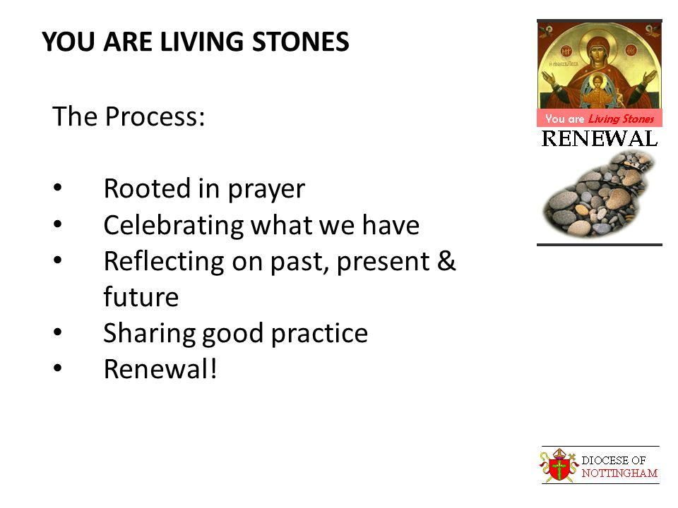 YOU ARE LIVING STONES The Process: Rooted in prayer Celebrating what we have Reflecting on past, present & future Sharing good practice Renewal!