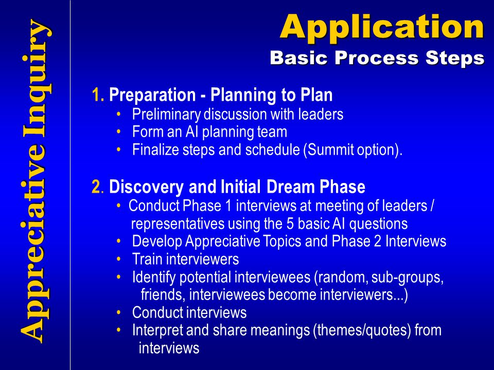 Appreciative Inquiry Application Basic Process Steps 1. Preparation - Planning to Plan Preliminary discussion with leaders Form an AI planning team Fi