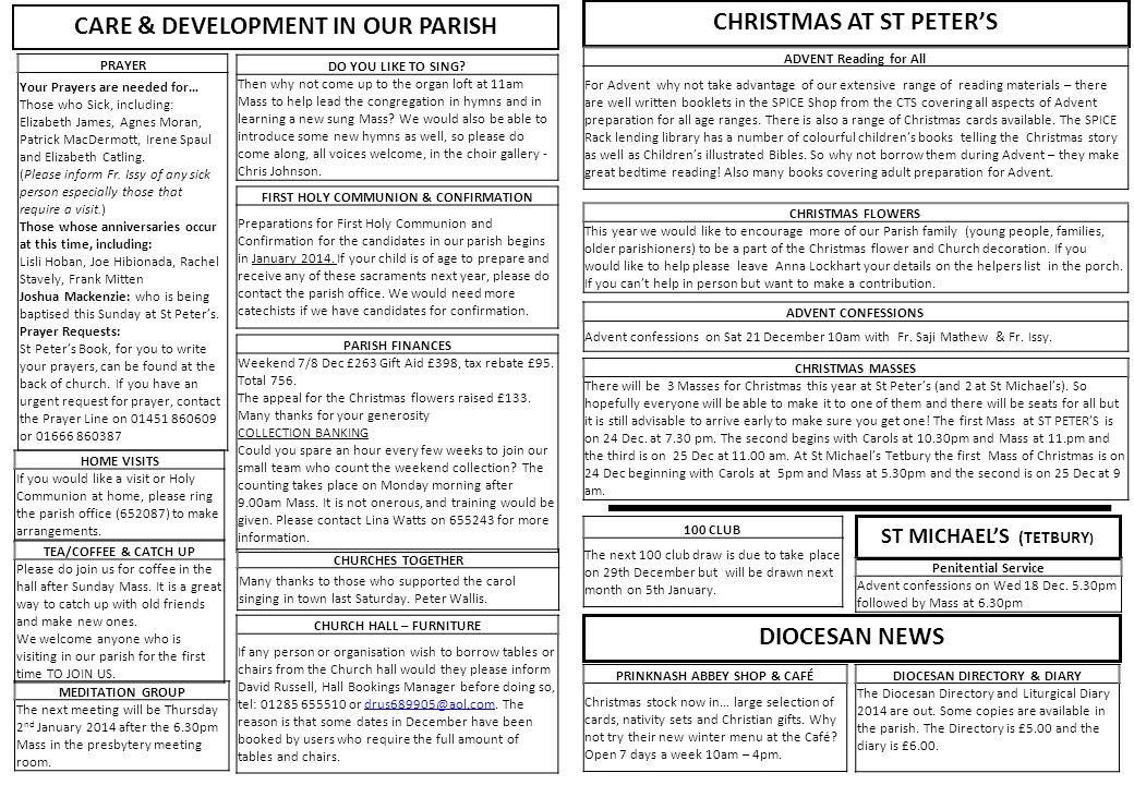 PARISH FINANCES Weekend 7/8 Dec £263 Gift Aid £398, tax rebate £95.