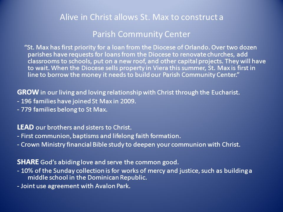 Alive in Christ Ministry The members of the ministry are supporting the continuation phase of our campaign.