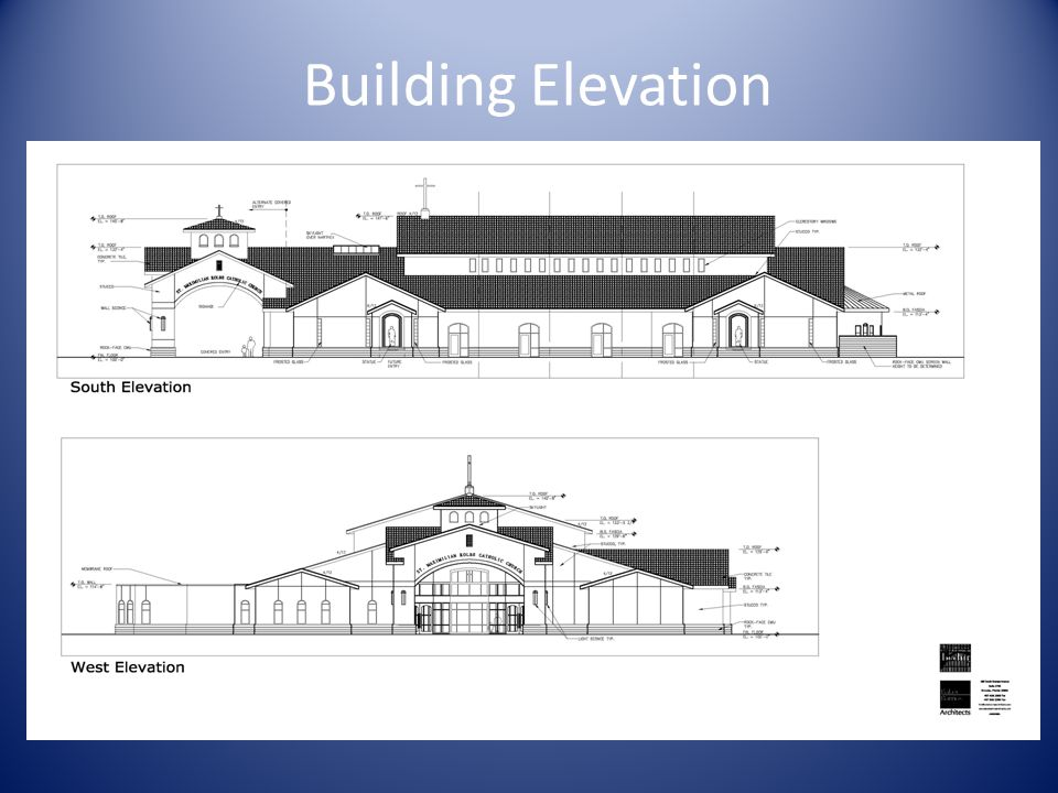 Building Floor Plan Parish Community Center will have: Worship space with seating for 700 Chapel Blessed Sacrament chapel Kitchen Meeting rooms for faith formation.