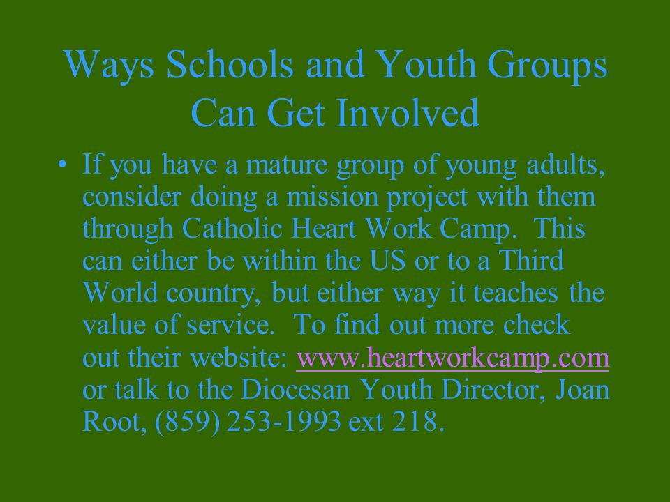 Ways Schools and Youth Groups Can Get Involved If you have a mature group of young adults, consider doing a mission project with them through Catholic Heart Work Camp.