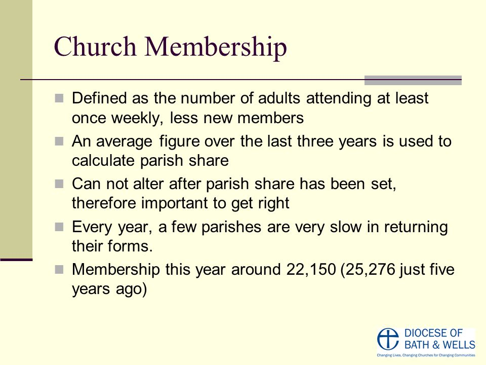 Church Membership Defined as the number of adults attending at least once weekly, less new members An average figure over the last three years is used