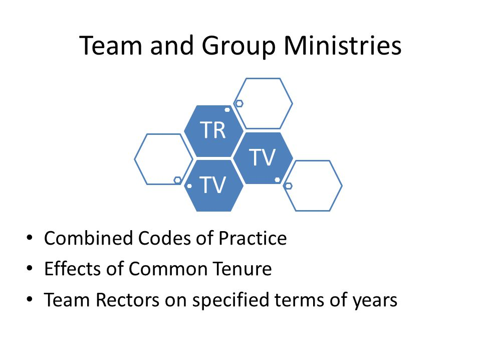 Team and Group Ministries Combined Codes of Practice Effects of Common Tenure Team Rectors on specified terms of years TV TR
