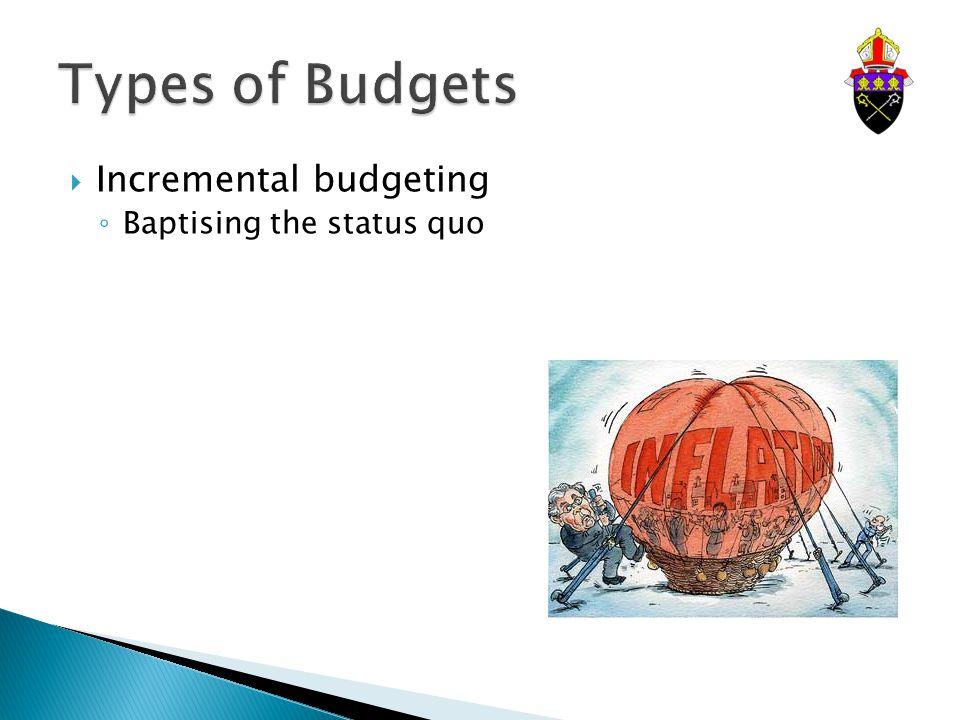  Incremental budgeting ◦ Baptising the status quo