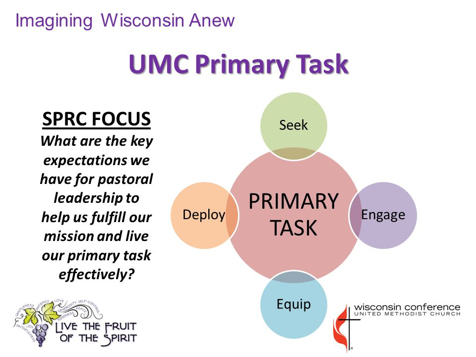 UMC Primary Task Imagining Wisconsin Anew SPRC FOCUS What are the key expectations we have for pastoral leadership to help us fulfill our mission and live our primary task effectively