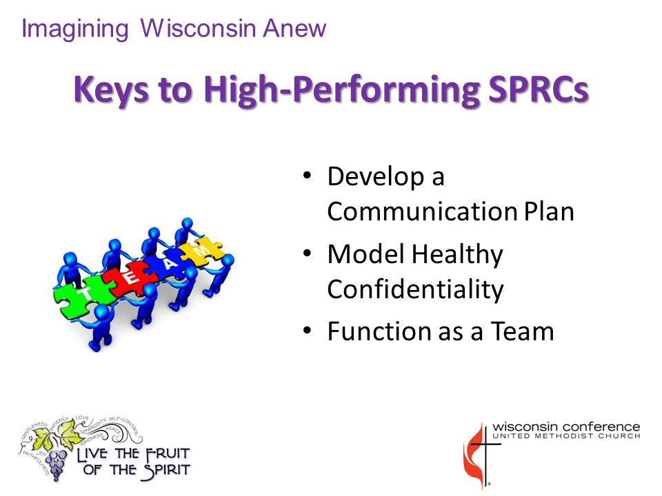 Keys to High-Performing SPRCs Imagining Wisconsin Anew Develop a Communication Plan Model Healthy Confidentiality Function as a Team