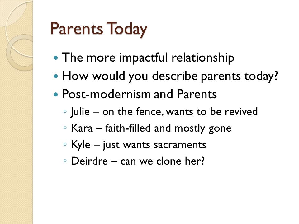 Parents Today The more impactful relationship How would you describe parents today.