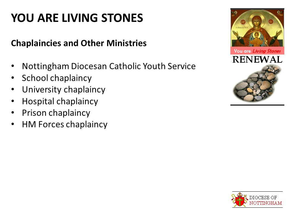 YOU ARE LIVING STONES Chaplaincies and Other Ministries Nottingham Diocesan Catholic Youth Service School chaplaincy University chaplaincy Hospital chaplaincy Prison chaplaincy HM Forces chaplaincy