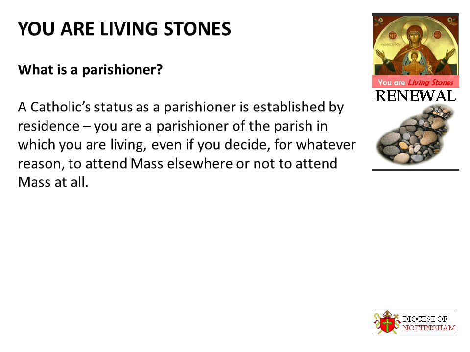 YOU ARE LIVING STONES What is a parishioner? A Catholic's status as a parishioner is established by residence – you are a parishioner of the parish in