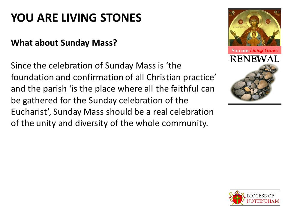 YOU ARE LIVING STONES What about Sunday Mass.
