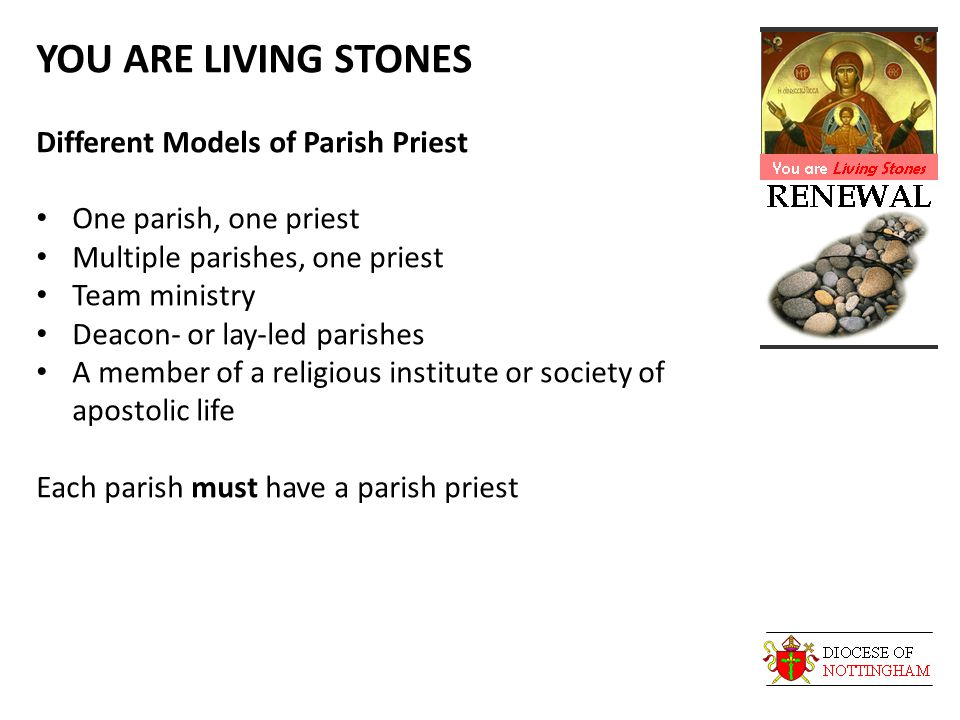 YOU ARE LIVING STONES Different Models of Parish Priest One parish, one priest Multiple parishes, one priest Team ministry Deacon- or lay-led parishes A member of a religious institute or society of apostolic life Each parish must have a parish priest