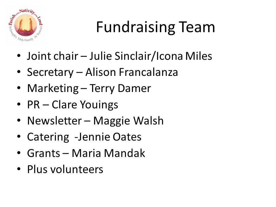 Fundraising Team Joint chair – Julie Sinclair/Icona Miles Secretary – Alison Francalanza Marketing – Terry Damer PR – Clare Youings Newsletter – Maggie Walsh Catering -Jennie Oates Grants – Maria Mandak Plus volunteers