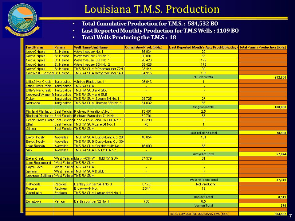 Total Cumulative Production for T.M.S.