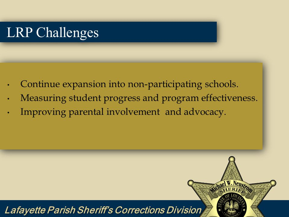 LRP Challenges Continue expansion into non-participating schools.