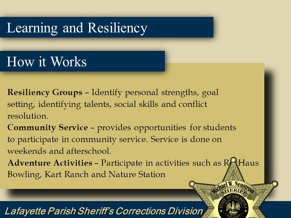 Resiliency Groups – Identify personal strengths, goal setting, identifying talents, social skills and conflict resolution.