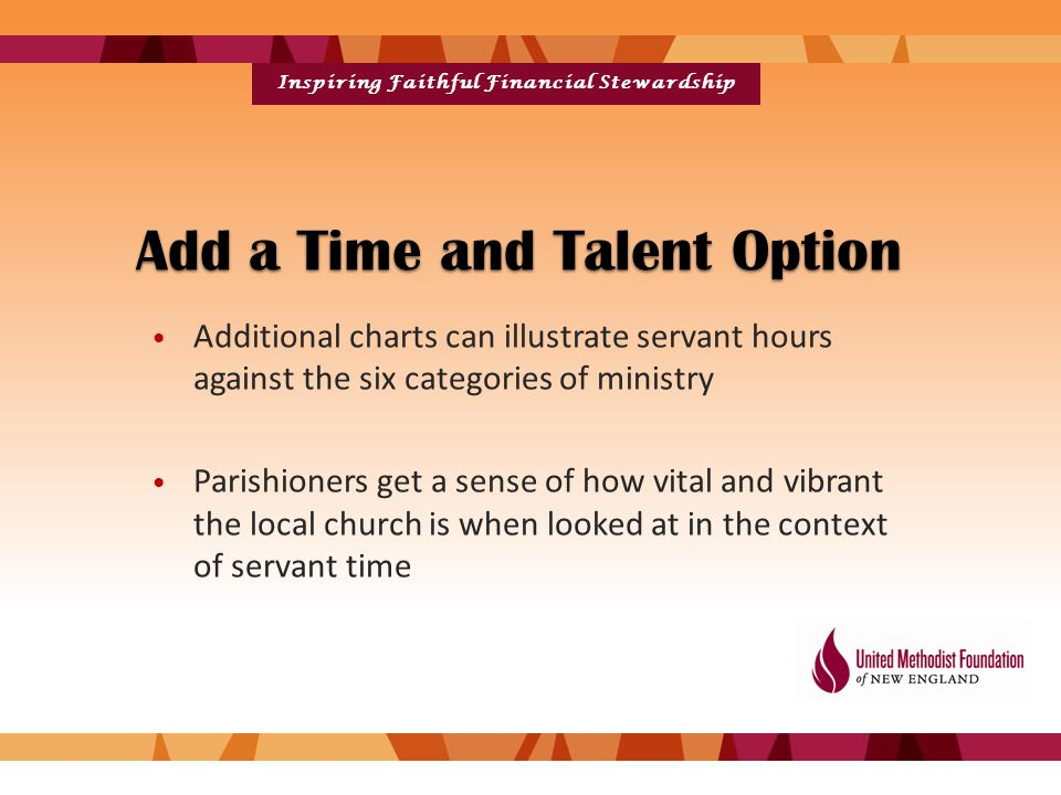 Inspiring Faithful Financial Stewardship Add a Time and Talent Option Additional charts can illustrate servant hours against the six categories of ministry Parishioners get a sense of how vital and vibrant the local church is when looked at in the context of servant time