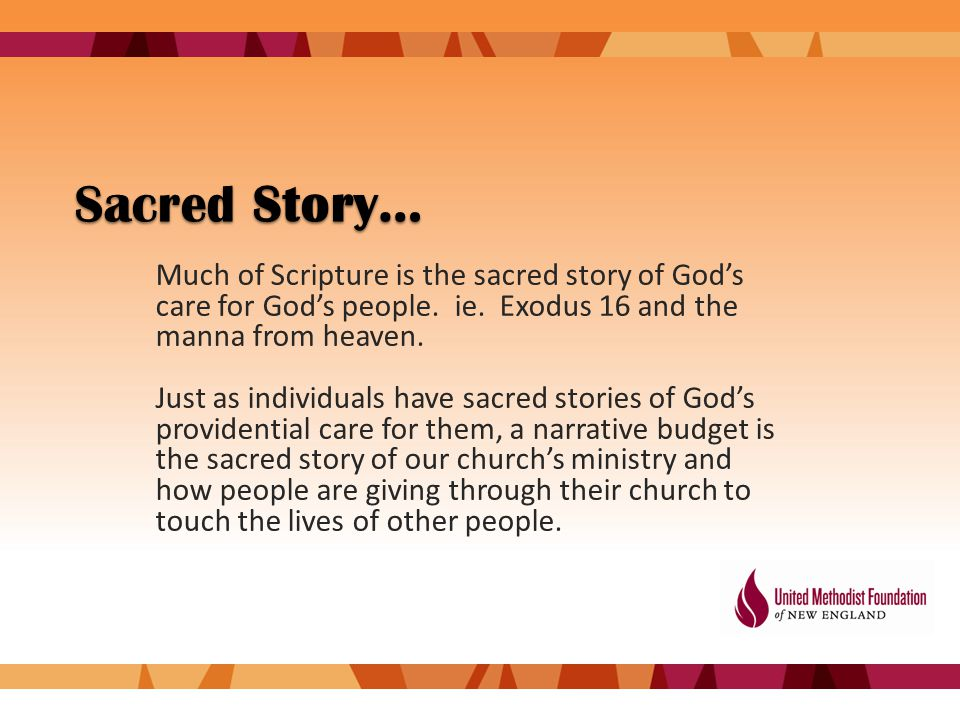 Sacred Story… Much of Scripture is the sacred story of God's care for God's people.