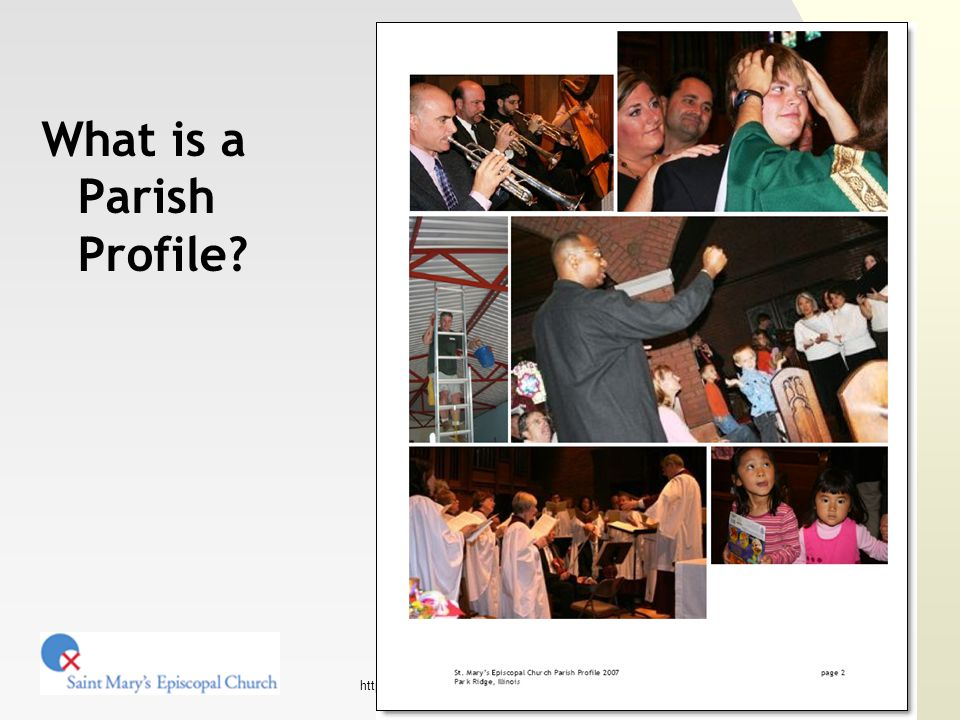 http://www.stmaryspr.org/ Putting it all together Output / delivery Send to diocese, post to the CDO database, etc.
