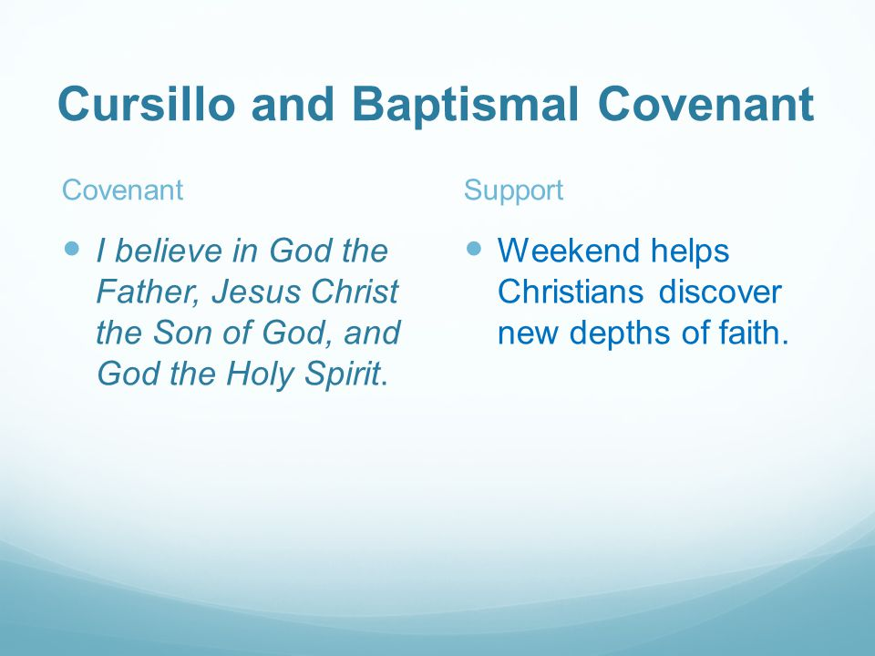 Covenant I believe in God the Father, Jesus Christ the Son of God, and God the Holy Spirit.