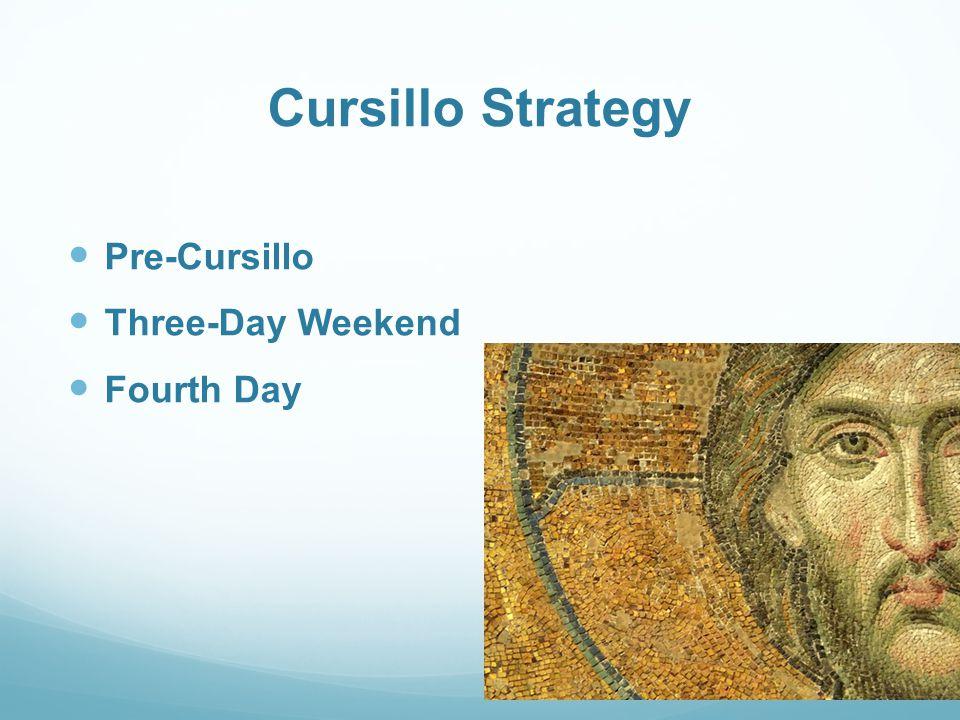 Cursillo Strategy Pre-Cursillo Three-Day Weekend Fourth Day