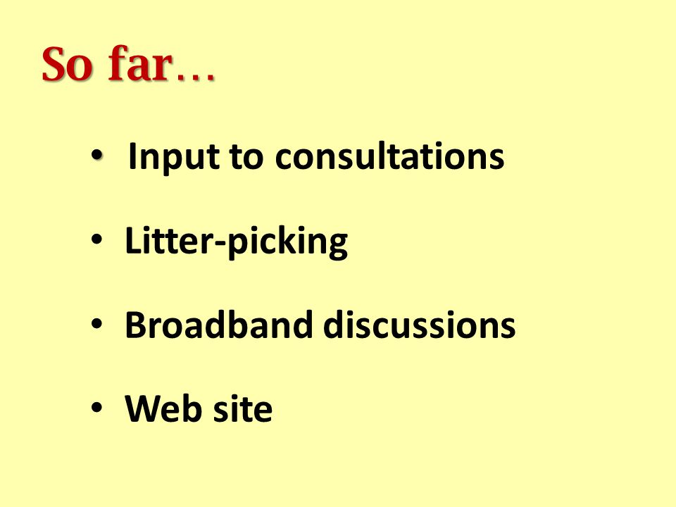 So far… Input to consultations Litter-picking Broadband discussions Web site