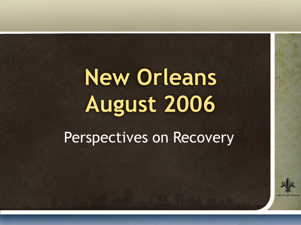 New Orleans August 2006 Perspectives on Recovery
