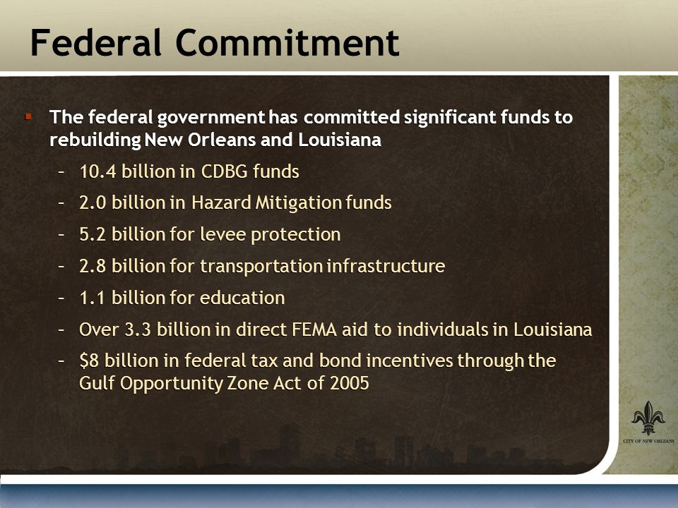 Federal Commitment  The federal government has committed significant funds to rebuilding New Orleans and Louisiana –10.4 billion in CDBG funds –2.0 billion in Hazard Mitigation funds –5.2 billion for levee protection –2.8 billion for transportation infrastructure –1.1 billion for education –Over 3.3 billion in direct FEMA aid to individuals in Louisiana –$8 billion in federal tax and bond incentives through the Gulf Opportunity Zone Act of 2005  The federal government has committed significant funds to rebuilding New Orleans and Louisiana –10.4 billion in CDBG funds –2.0 billion in Hazard Mitigation funds –5.2 billion for levee protection –2.8 billion for transportation infrastructure –1.1 billion for education –Over 3.3 billion in direct FEMA aid to individuals in Louisiana –$8 billion in federal tax and bond incentives through the Gulf Opportunity Zone Act of 2005