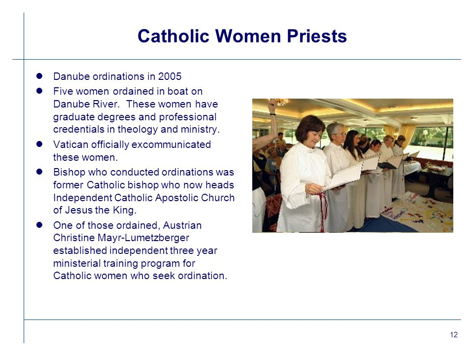 12 Catholic Women Priests lDanube ordinations in 2005 lFive women ordained in boat on Danube River.