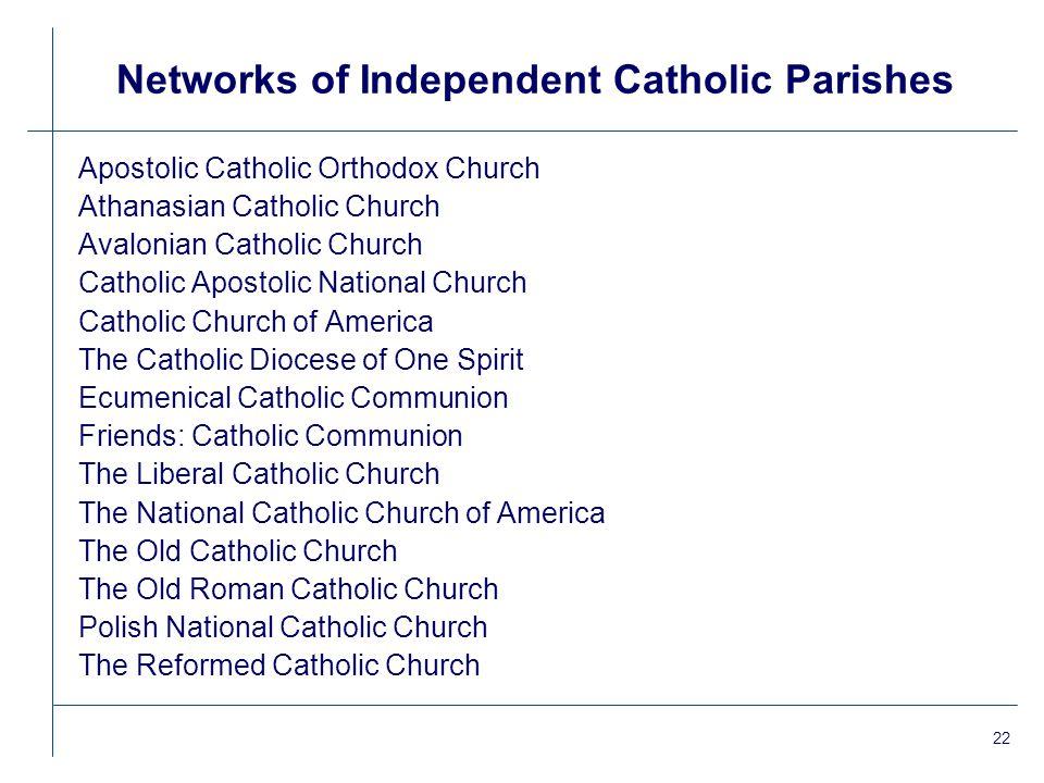 22 Networks of Independent Catholic Parishes Apostolic Catholic Orthodox Church Athanasian Catholic Church Avalonian Catholic Church Catholic Apostoli