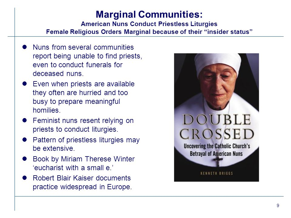 10 Marginal Communities: Jesus Our Savior: A CITI Community Married Priests marginal—insider due to cannon law status but regarded as outsiders by Vatican lCommunity holds weekly liturgies at church building that was originally a Catholic parish lThree married priests alternate presiding at liturgy.