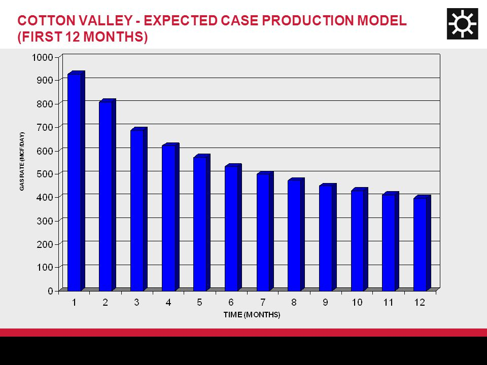 GAS RATE (MCF/DAY) COTTON VALLEY - EXPECTED CASE PRODUCTION MODEL (FIRST 12 MONTHS)