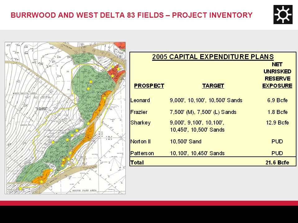BURRWOOD AND WEST DELTA 83 FIELDS – PROJECT INVENTORY