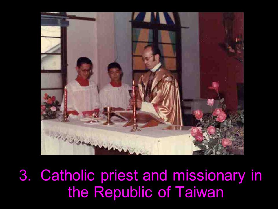 1985 Left Jesuit order – Return to Europe / Munich – Left Catholic Church and Christian past behind – Still firm believer in a spiritual world but fierce opponent of every kind of religious flimflam and hocus-pocus – Feeling spiritual affinity to Buddhist weltanschauung Instructor of Mandarin Chinese at Munich Technical University – Return to Taiwan – Teaching at Zhong Xing / Qing Hua / Jiao Tong University 1987-2007 Teaching in and around my 'home' town Xin Zhu – Getting involved in and organizing activities / protests related to political / social / environmental issues 1987 Return to Europe / Germany– Attending seminar by three professors from Moscow State University on modern Russian history – Criticizing their distorted picture of history and accusing them of hiding the true facts about the invasion/war in Afghanistan – Being cut down in mid-speech by the chairperson who jumped up: I warn you: you are on Russian soil and under Russian law!!! – Seminar declared closed – Survived the scare unharmed though.