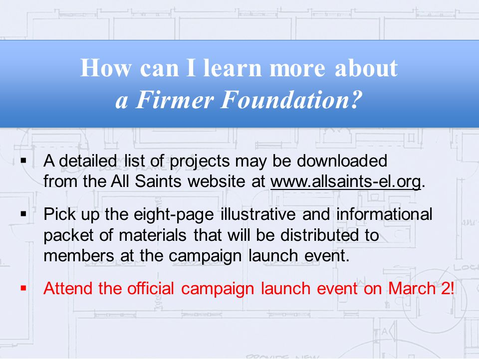 How can I learn more about a Firmer Foundation.